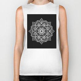 White Mandala On Black Biker Tank