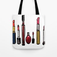 lipstick Tote Bags featuring Lipstick by Kayla Phan