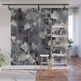 Thistle Flower Felted Plaid Pattern Wall Mural