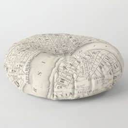 Vintage Map of New Orleans LA (1866) Floor Pillow