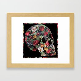 Skull and Flowers Framed Art Print