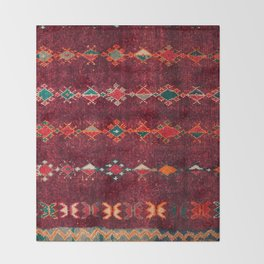 -A8- Colored Traditional Moroccan Carpet Artwork. Throw Blanket