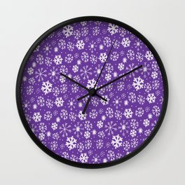 Snowflake Snowstorm With Purple Background Wall Clock