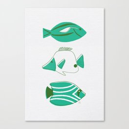 Midcentury Fish - Turquoise and Evergreen Canvas Print