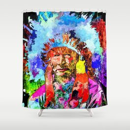 Amerindian Grunge Portrait Shower Curtain