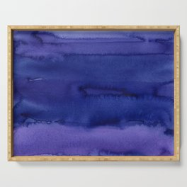 Blue Violet Watercolor Horizontal Stripes Abstract Serving Tray