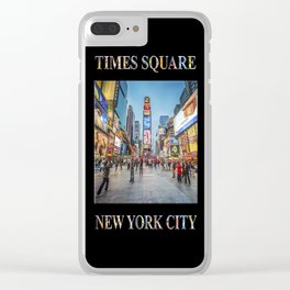 Times Square Sparkle (with type on black) Clear iPhone Case