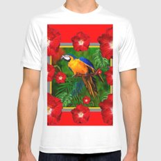 RED HIBISCUS GOLD MACAW JUNGLE ART Mens Fitted Tee White MEDIUM