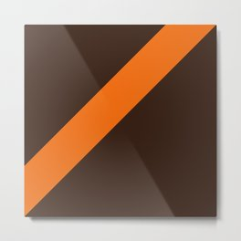 Brown & Orange Retro Stripe Metal Print