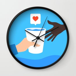 An arm give a cup of water to a child with love. Wall Clock