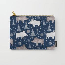 Piglets on a dark blue background with fir trees and snow. Carry-All Pouch