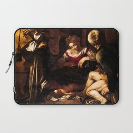 """Michelangelo Merisi da Caravaggio """"Nativity with Saints Lawrence and Francis"""" Laptop Sleeve"""