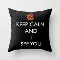 keep calm Throw Pillows featuring KEEP CALM  by Caio Trindade