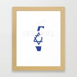 Israel Flag Map - Jew Jersualem Pride Gift Framed Art Print