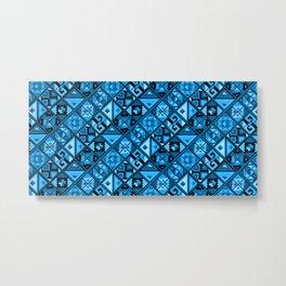 Folk Abstract Geometric Pattern - Royal Sky Blue Metal Print