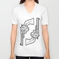 guns V-neck T-shirts featuring Guns by Calyx Studio