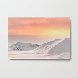 Snow-covered mountains of Svalbard at dusk Metal Print