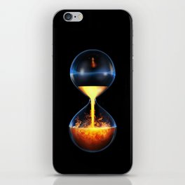 Old flame / 3D render of hourglass flowing liquid fire iPhone Skin