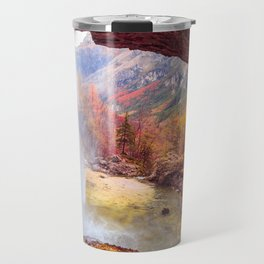Waterfall in an autumn day in the italian alps Travel Mug