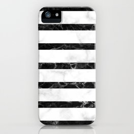 marble horizontal stripe pattern - white marble black marble iPhone Case