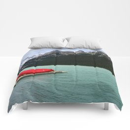 Lake Louise Red Canoes Comforters