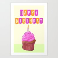 Birthday Cupcake Pink Art Print