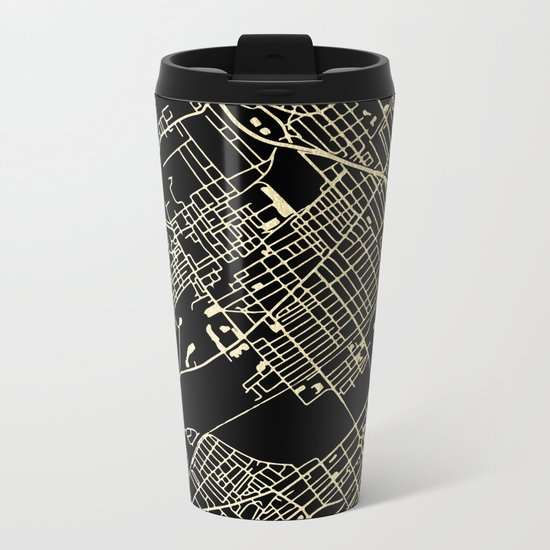 Wilkes-Barre Gold and Black Map Metal Travel Mug