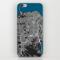 san francisco map iPhone & iPod Skins featuring San Francisco city map black colour by MCartography