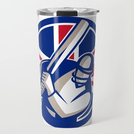 British Cricket Batsman Batting Union Jack Flag Icon Travel Mug