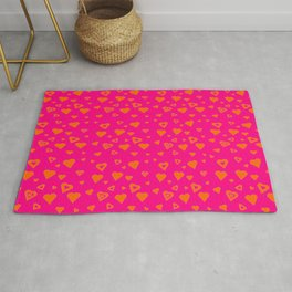 Hot Pink with lots of orange hearts Rug