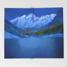 Maroon Bells Early Morning Abstract Throw Blanket