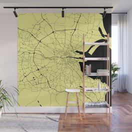 Yellow on Black Dublin Street Map Wall Mural