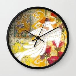 Bird and Flowers Wall Clock