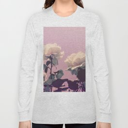 Vintage Spring Pearl White Roses Lavender Sky Long Sleeve T-shirt