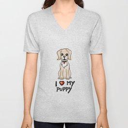 I love my pupy Unisex V-Neck