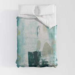 023.2: a vibrant abstract design in teal green and yellow by Alyssa Hamilton Art  Duvet Cover