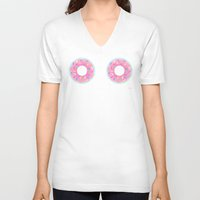 donuts V-neck T-shirts featuring DONUTS by BIGEHIBI