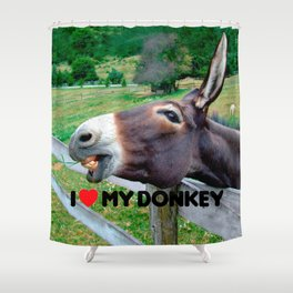 I Love My Donkey Funny Mule Farm Animal Shower Curtain
