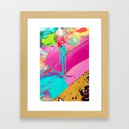 Abstract Acrylic brushstrokes and sequins Framed Art Print