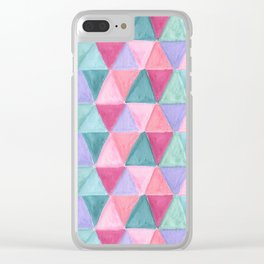 pastel triangle pattern Clear iPhone Case