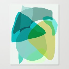 Shapes and Layers no.17 - Abstract Painting in Greens and Blues Canvas Print