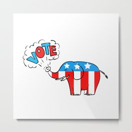 American Elephant Vote Drawing Metal Print