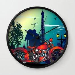 Romantic Kiss in Paris Wall Clock