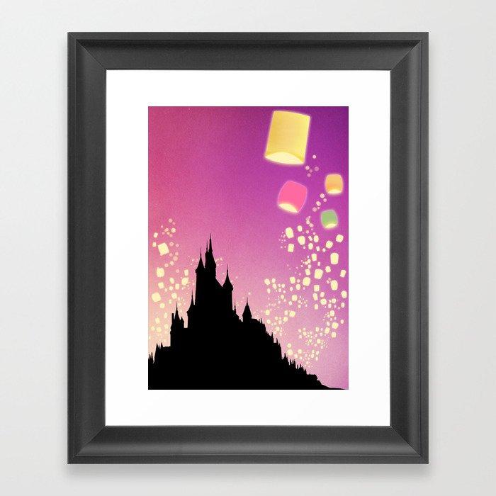 Pixar Tangled Castle Print with Lanterns Framed Art Print