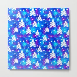 Watercolor Seamless pattern with hand drawn snowflakes and christmas tree . Metal Print