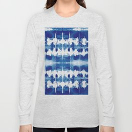 Shibori Tie Dye Indigo Blue Long Sleeve T-shirt