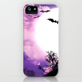 Creepy Halloween Haunted Castle With Bats At Full Moon Ultra HD iPhone Case