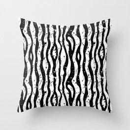 paint splatter black and white zebra stripes Throw Pillow