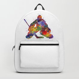 Boy Ice Hockey Goalie Colorful Watercolor Sports Art Backpack