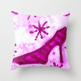 Snowflake Shoe - Pink Palette Throw Pillow